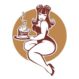 Beleza, mais garota pinup de tamanho com gigantesco hambúrguer saboroso