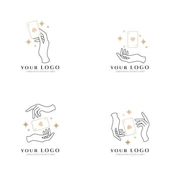 Beleza mão boho cartão poker logotipo do ouro editável modelo coleção set