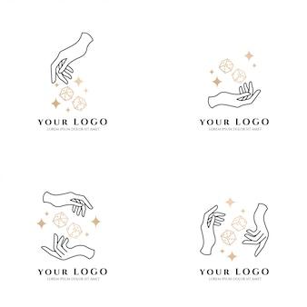 Beleza mão boho dice poker logotipo de ouro editável modelo coleção set