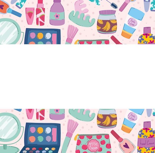Beleza, maquiagem, cosméticos, produto, sombra, loção, creme, loção, e, mais, ilustração vetorial