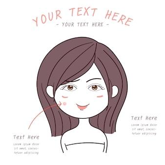 Beleza menina com rosto facial acne cuidados com a pele