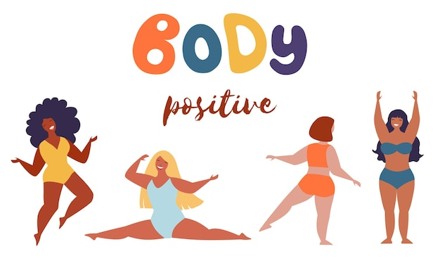 Beleza meninas corpo positivo e conceito de pessoas - grupo de mulheres felizes diferentes em traje de banho.
