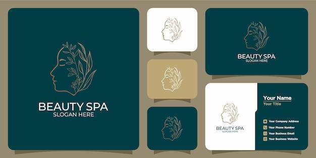 Beleza minimalista abstrato logotipo salão e spa silhueta conceito logotipo e modelo de cartão de visita