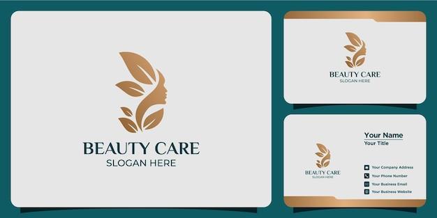 Beleza minimalista logotipo abstrato salão de beleza e spa conceito de forma de silhueta logotipo e modelo de cartão de visita