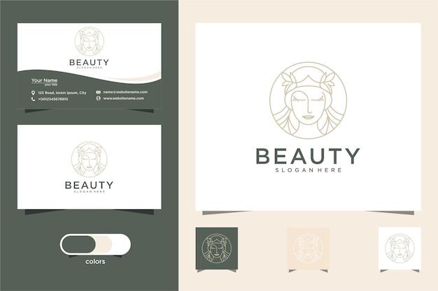 Beleza mulher cabeleireiro linha arte estilo logo design e cartão de visita