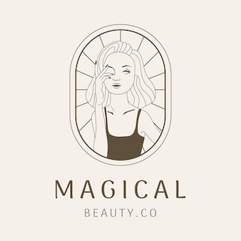 Beleza mulher logotipo linha arte design de negócios