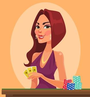 Beleza mulher segurando cartas de cassino