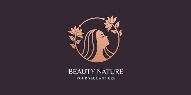 Beleza natural com combinação de mulheres e logotipo de design verde-oliva