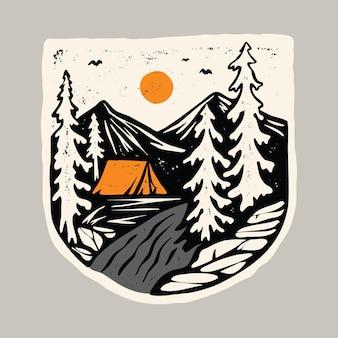 Beleza natureza e acampamento com rio design de t-shirt de ilustração gráfica