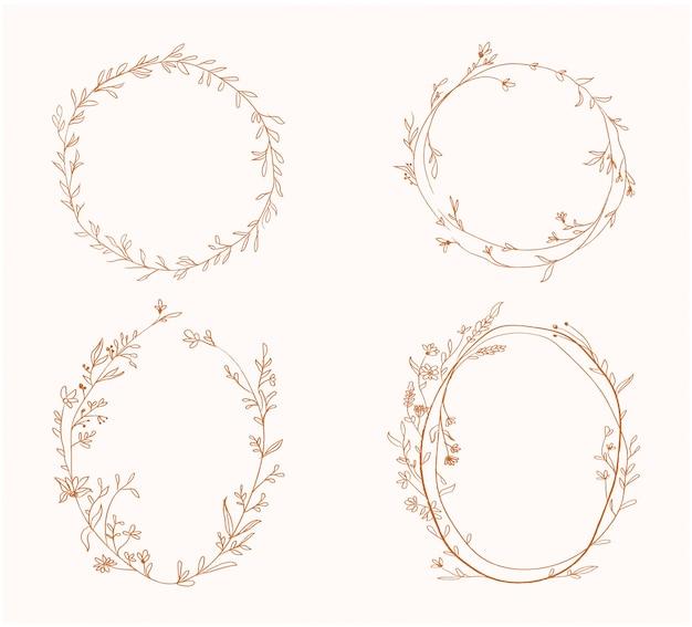 Beleza primavera dourado flor floral círculo frame