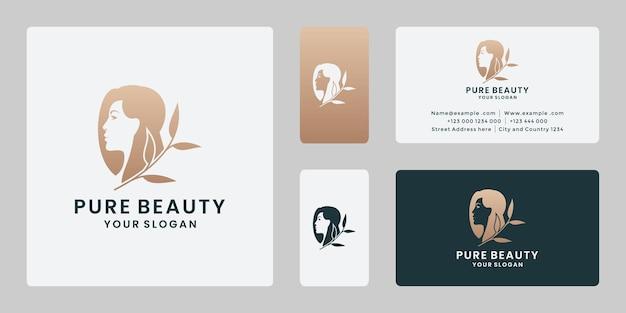 Beleza pura, modelos de design de logotipo de mulher da natureza