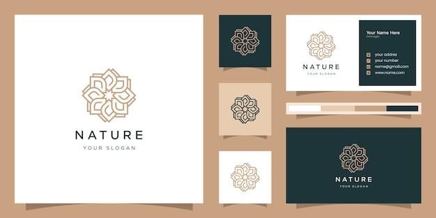 Beleza rosa elegante, ioga e spa. design de logotipo e cartão de visita
