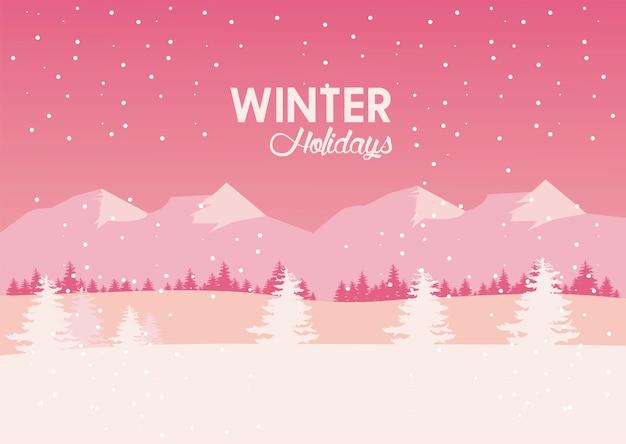 Beleza rosa paisagem de inverno com ilustração de montanhas e árvores pinheiros