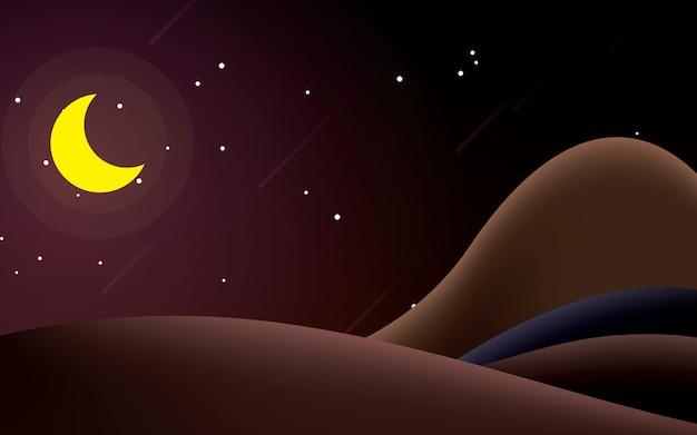 Beleza stary noite montar ilustração vetorial de paisagem