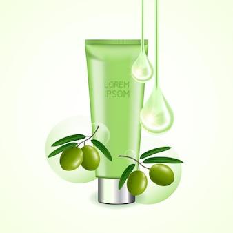Beleza verde-oliva e ilustração cosmética elegante.