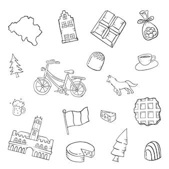 Bélgica país país doodle conjunto desenhado à mão coleções com ilustração em vetor contorno estilo preto e branco