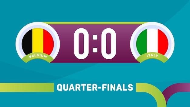 Bélgica vs itália corresponder ilustração vetorial campeonato de futebol 2020