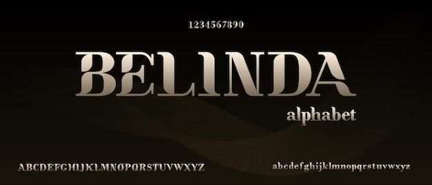 Belinda, alfabeto moderno e elegante com modelo de estilo urbano Vetor Premium