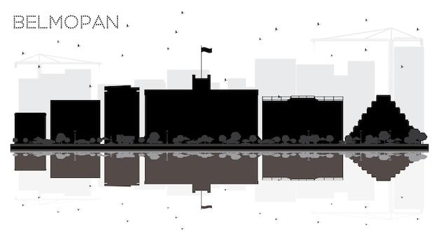 Belmopan silhueta em preto e branco do horizonte da cidade de belize com ilustração vetorial de reflexões