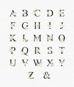 Belo alfabeto para casamento com flores Vetor Premium