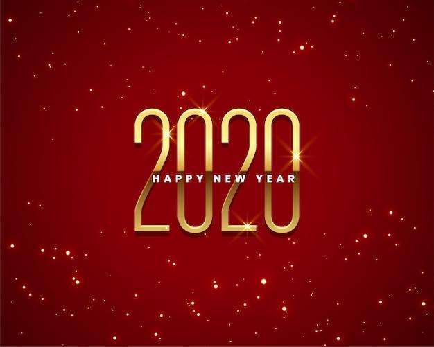 Belo ano novo 2020 dourado e vermelho fundo