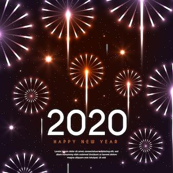 Belo ano novo 2020 fogos de artifício