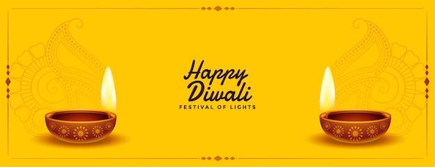 Belo banner amarelo de diwali feliz com diya realista