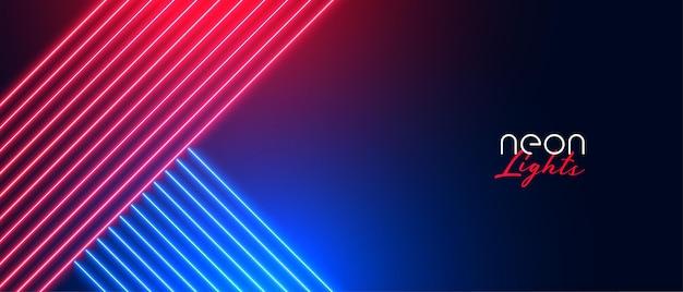 Belo banner de luz neon vermelho e azul brilhante