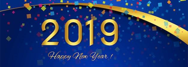 Belo banner feliz ano novo 2019 texto design