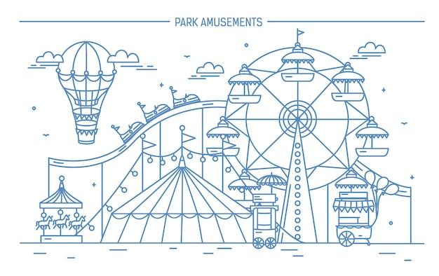 Belo banner horizontal de parque de diversões