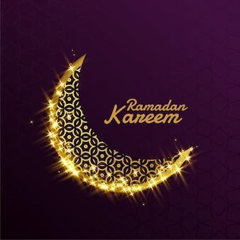 Belo brilho brilhante dourado lua decorativa