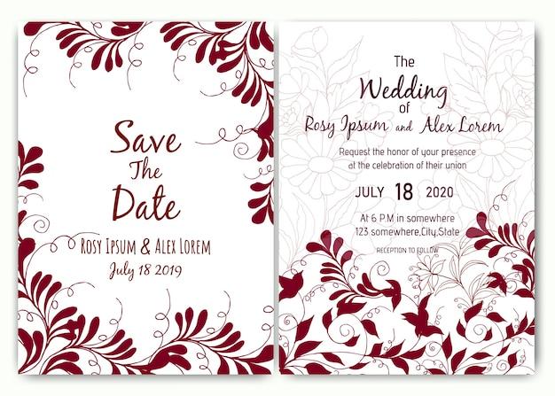 Belo cartão de casamento