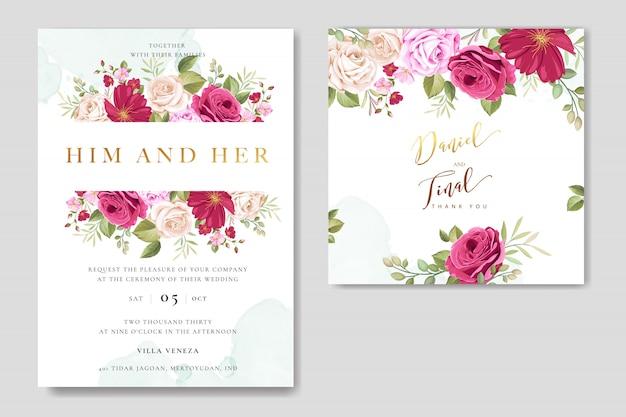 Belo cartão de convite de casamento com modelo de rosas coloridas