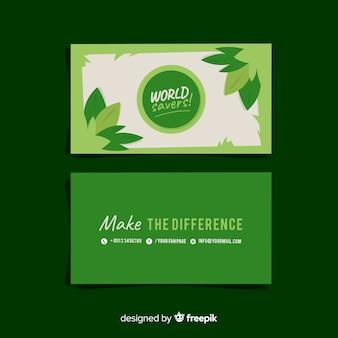 Belo cartão de visita com design de natureza ou eco
