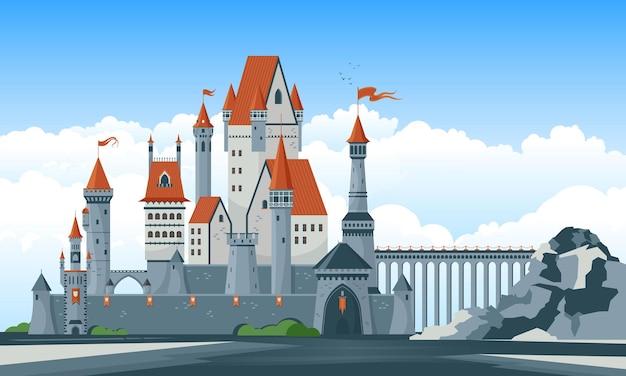 Belo castelo medieval com janelas em arco e ilustração das torres