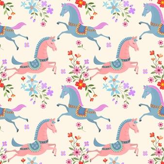 Belo cavalo e flores sem costura padrão