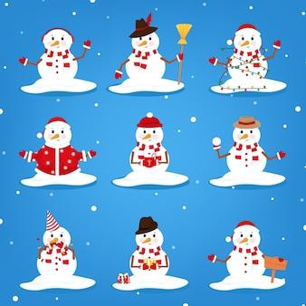 Belo conjunto de caracteres de boneco de neve