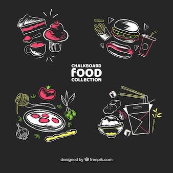 Belo conjunto de comida no estilo de quadro