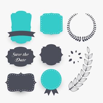 Belo conjunto de elementos de decoração de casamento