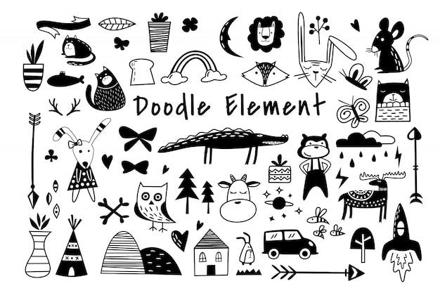 Belo conjunto de elementos de doodle