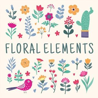 Belo conjunto de elementos florais