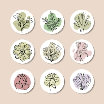 Belo conjunto de ícone de lineart, flor, folha e fruta