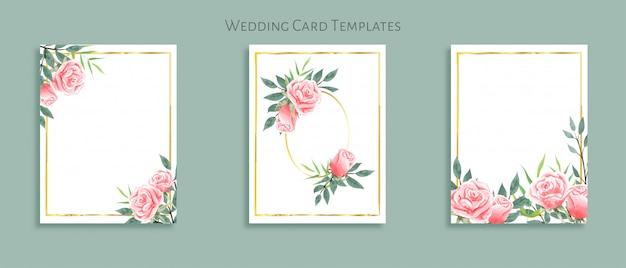Belo conjunto de modelos de cartão de casamento com buquês de rosas