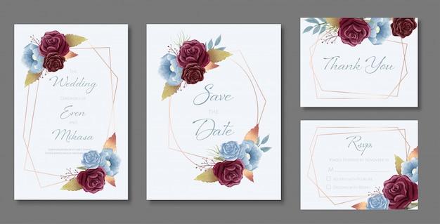 Belo conjunto de modelos de cartão de casamento. decorado com rosas e folhas selvagens no tema borgonha e azul poeira.