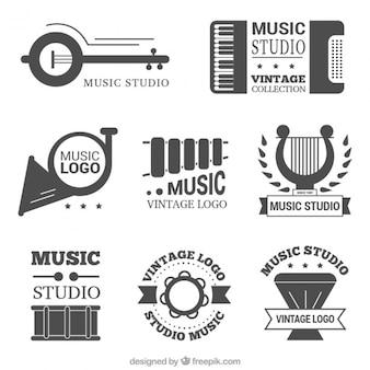 Belo conjunto de música do vintage estúdio logos
