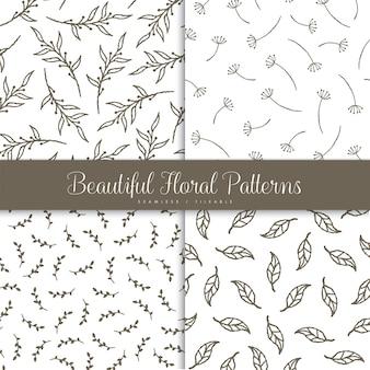 Belo conjunto de padrão floral sem emenda