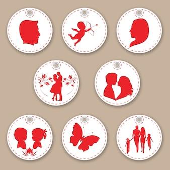 Belo conjunto de tags mulher, homem, família, amor e filhos.