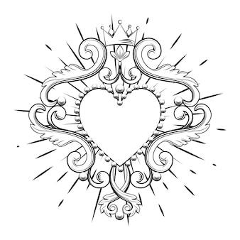 Belo coração ornamental com coroa