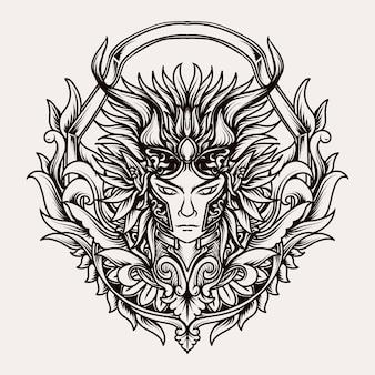 Belo desenho feito à mão ornamento de gravura de príncipe demoníaco