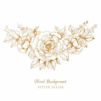 Belo desenho floral dourado decorativo